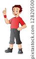 Boy Pointing Forefinger Up, illustration 12820500