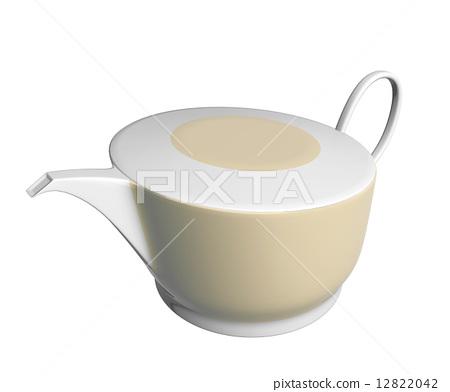 White and beige ceramic tea pot, 3D illustration 12822042