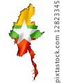 Burma Myanmar flag map 12823345