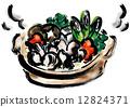 鍋裡煮好的食物 煮河豚 燉湯 12824371