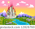 Fantasy mountain landscape with medieval castle 12826760