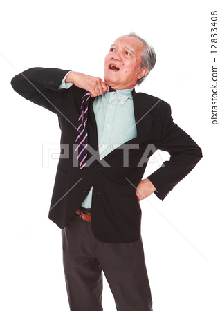 white background,old man, studio shot, businessman portrait suit,senior,formal, serious, confuse     12833408