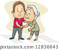 Man Helping an Old Lady Cross the Street 12836643