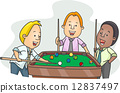 Men Playing Billiards After Work 12837497
