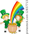 Kids Standing in Front of a Pot of Gold 12837713