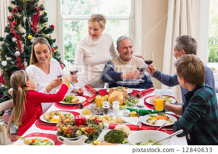 Family toasting with red wine in a christmas dinner