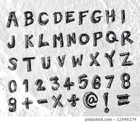 Hand drawn letters font written on wall texture background desig 12846274