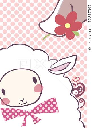 양에 꽃 선물 핑크 엽서 크기 12857347