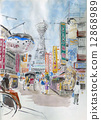 Tsutenkaku sketch Osaka tourism watercolor painting 12868989