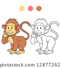 coloring, monkey, book 12877262