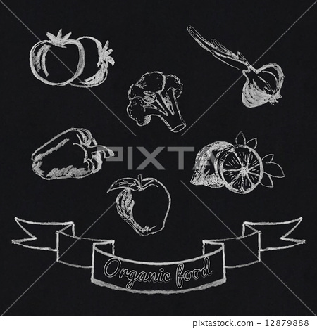 Stock Illustration: Chalk fruit and vegetables icon