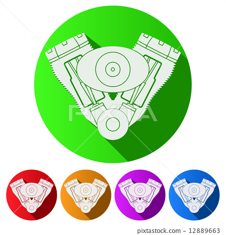 Set Flat icons of motorcycle engine. Vector Illustration. 12889663