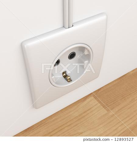 Electric power socket on empty wall. 3D Illustration 12893527
