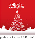 Christmas background with Christmas tree and lettering  12896761