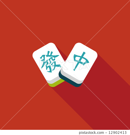 Chinese New Year flat icon icon with long shadow, Chinese mahjon 12902413