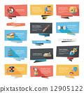 Pet flat banner design background set, eps10 12905122