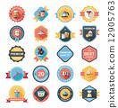 Kitchenware badge flat banner design background set, eps10 12905763