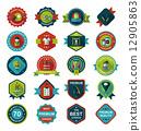 Sport badge flat banner design background set, eps10 12905863