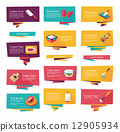 Kitchenware flat banner background set, eps10 12905934
