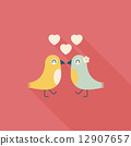 Valentine's Day lover bird flat icon with long shadow,eps10 12907657