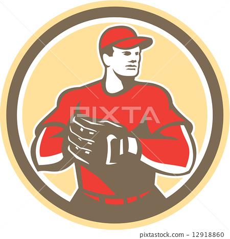 Baseball Catcher Gloves Circle Retro 12918860