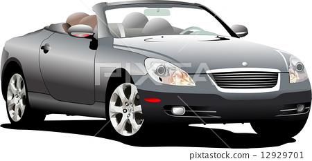Grey  car cabriolrt on the road 12929701