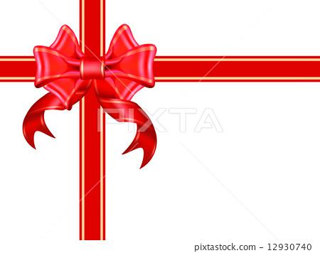 Shiny red ribbon on white background 12930740