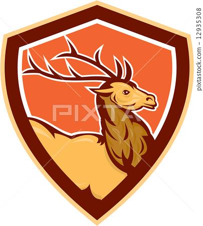 Deer Stag Buck Head Shield Retro 12935308