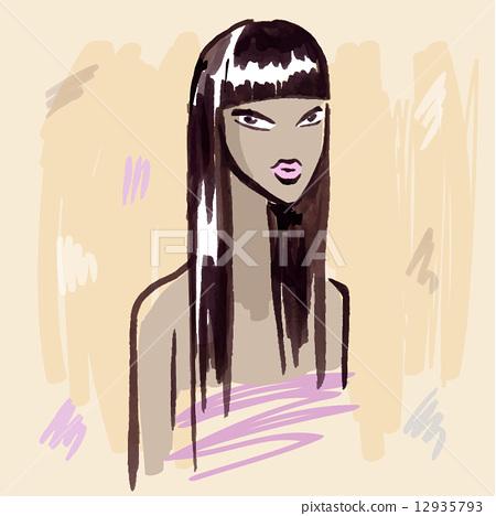 Fashion girl.  Hand drawn Portrait. 12935793