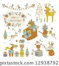 矢量 動物 耶誕節 12938792