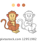 coloring, monkey, book 12951982
