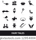 black simple fairy tales theme icons set eps10 12954004