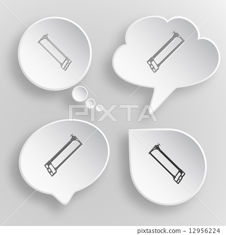 Hacksaw. White flat vector buttons on gray background. 12956224