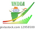 Map illustration of India with flag 12956500