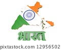 Map illustration of India with flag 12956502