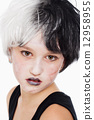 Young Girl in Wig and Scary Makeup 12958955