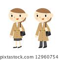 コートの女性 12960754