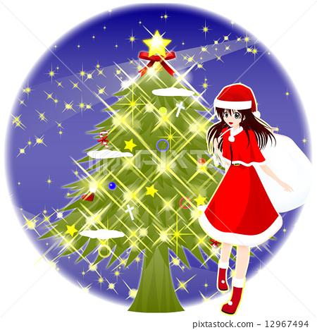 Santa costume girl tree and circular background of night sky 12967494