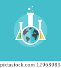Global chemistry experiments flat icon illustration 12968983