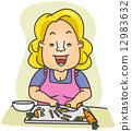 Woman Slicing Carrots 12983632