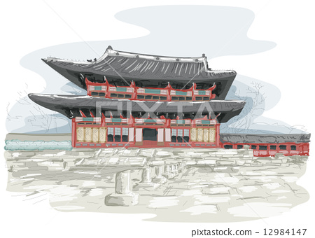 Stock Illustration: Korean Temple