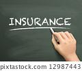 chalkboard, hand, insurance 12987443
