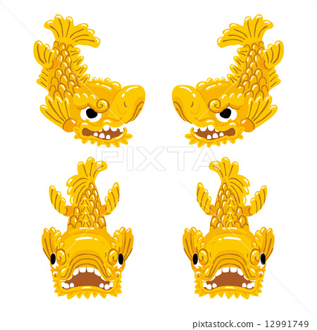 金色海豚节 矢量 金色虎头鲤鱼 12991749