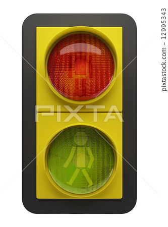 traffic light isolated on white background 12995343