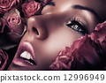 woman face in pink roses 12996949