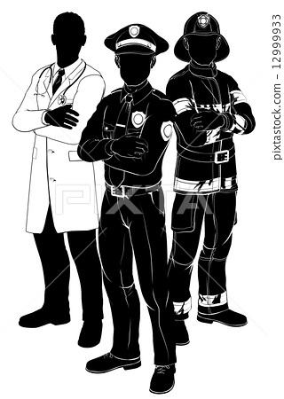 Stock Illustration: Emergency services team silhouettes
