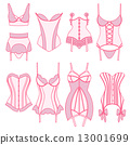 Set of vintage lingerie elements 13001699