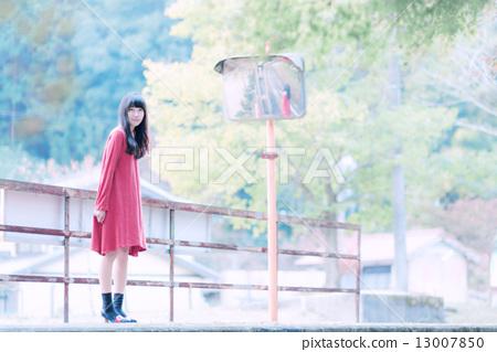Railway track and girl 13007850
