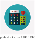 Valentine's day hotel flat icon with long shadow,eps10 13016392