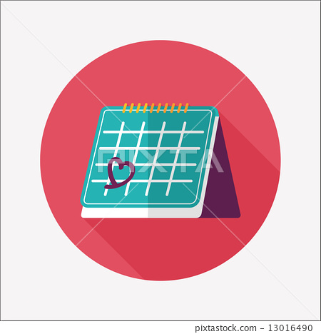 Valentine's Day February fourteen calendar flat icon with long s 13016490